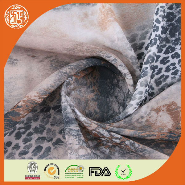 2014 china digital effect polyester chiffon leopard print silk fabric