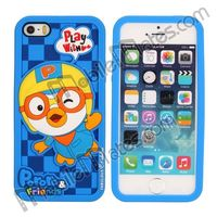 Cute Pororo 3D Soft Silicone Case for iPhone 5 5s (Dark Blue)