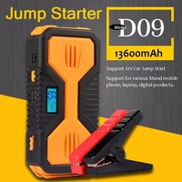 New Product D09 500A Peak 13600mAh 10000mAh Mini Jump Starter Battery Booster with Double USB Power Bank and LCD Screen