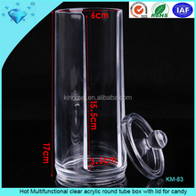 Hot Multifunctional clear acrylic round tube box with lid for candy