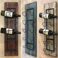 WINE RACK Wall Wood 5 Bottle Holder with Metal for Home Decor