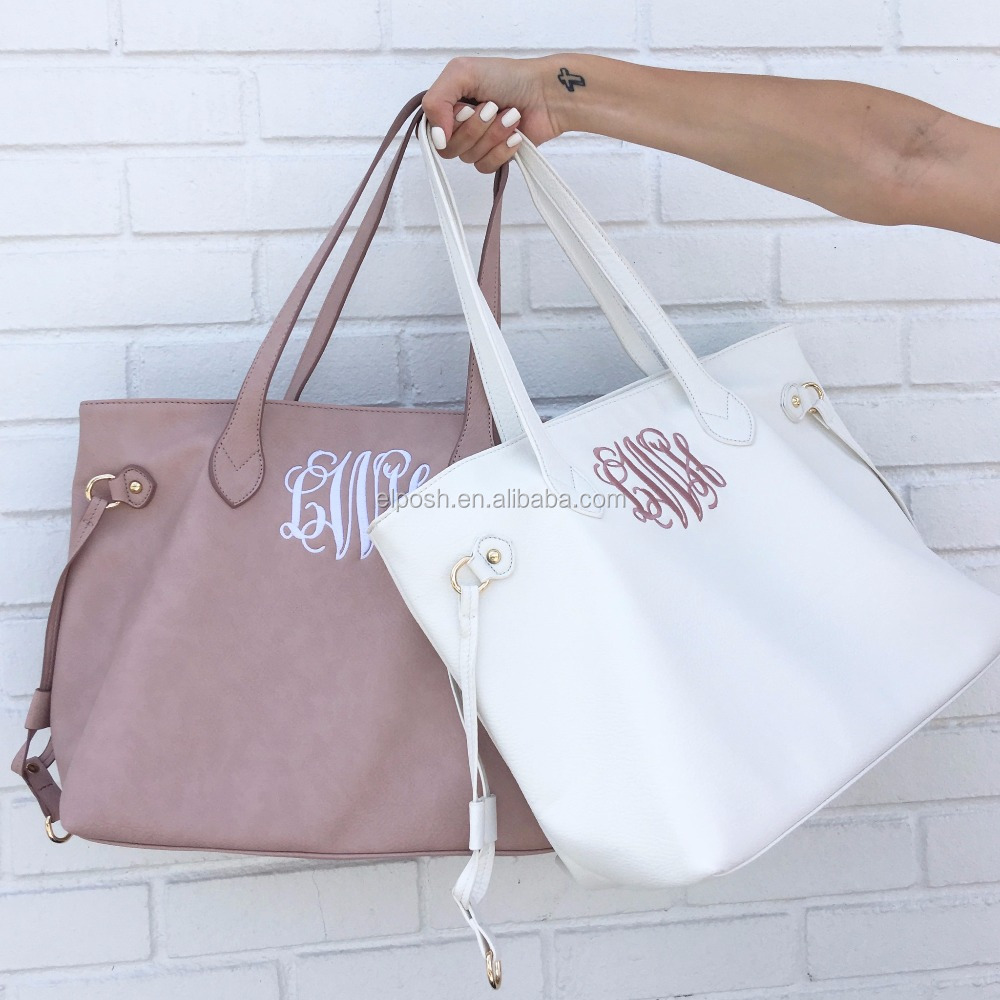 Monogrammed Leather Amelia Tote Bag