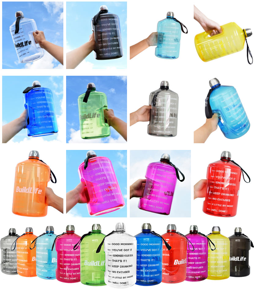 No MOQ BuildLife 1 Gallon Water Bottle Motivational Fitness Workout with Time Marker |Drink More Water Daily BPA-Free