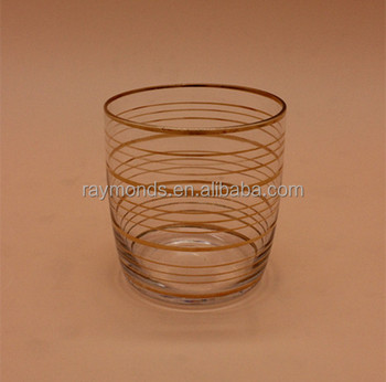 Clear Old Fashioned Glass With Golden Rim