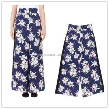 Ladies full lenght floral print wide leg flare pants of 2015 NT156