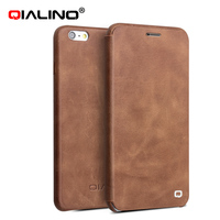 magnet flip cover with top layer cow leather case for iphone 6