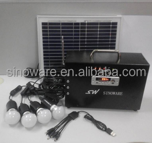 Home portable solar lighting system with radio, MP3 and mobile phone charger