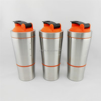 Eco-Friendly Feature Outdoor Recyclable 700ML Wholesale Stainless Steel Shaker Water Bottles with Plastic Protein box