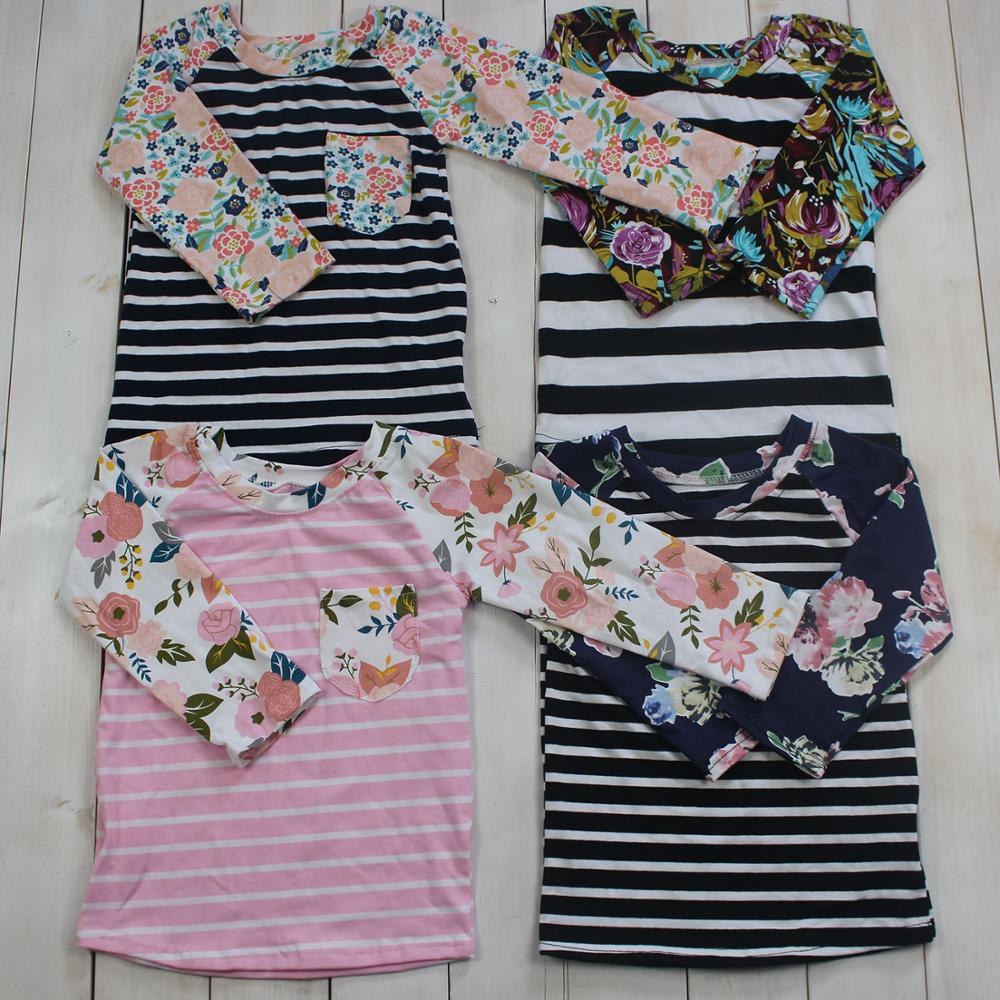 Newest children long sleeves flower print girl clothing high quality boutique baby girl clothes tops casual