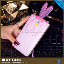 Cute 3D Rabbit Ears Stand Gel Transparent TPU Case Back Cover for Samsung Note 3