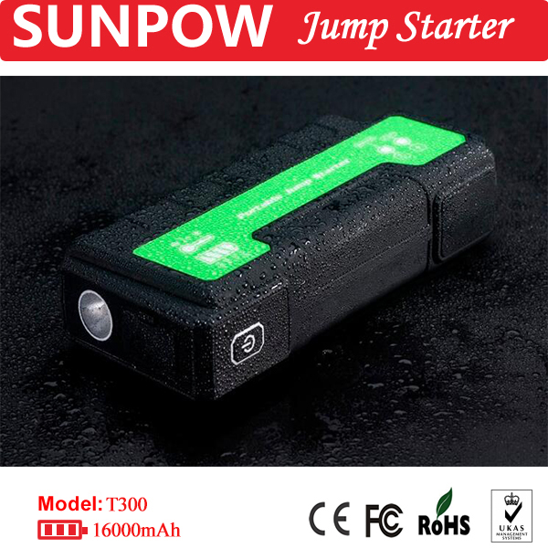 SUNPOW rechargeable battery for vehicle powerbank cables with LED light jump starter mini portable booster jump starter
