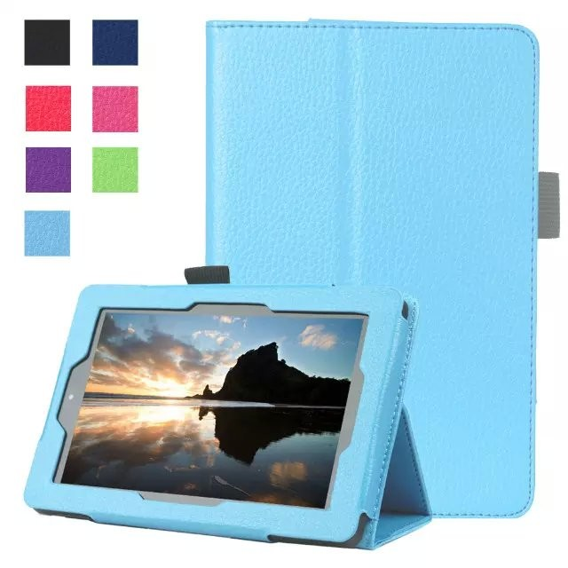 Premium Slim Leather Case Stand Folio Cover with Auto Wake Sleep Function for Kindle Fire HD 8