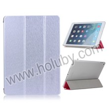 Silk Texture Flip Stand PC + PU Leather Tri-fold Case for iPad Air 2