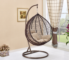 Outdoor Patio PE Rattan Egg Shaped Hanging Chair With Metal Frame