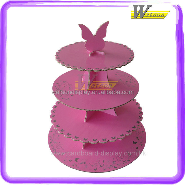 customized for retail 3 tier Birthday Party Cardboard Cupcake Stand tree
