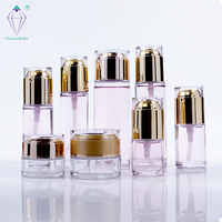 luxury cosmetic set packaging containers glass creams jar and lotion bottle perfume bottle