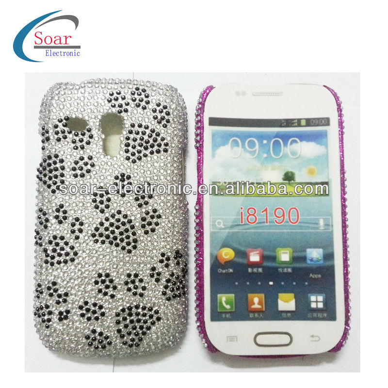 Dog Footprints Design Diamond Bling Hard Case for Samsung Galaxy s3 mini I8190