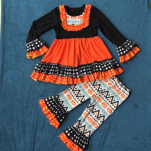 Hot sale !Children Wholesale pumpkin Boutique Clothes, Popular Dress and Ruffle Pants for Little Girls, Outfits for Fall