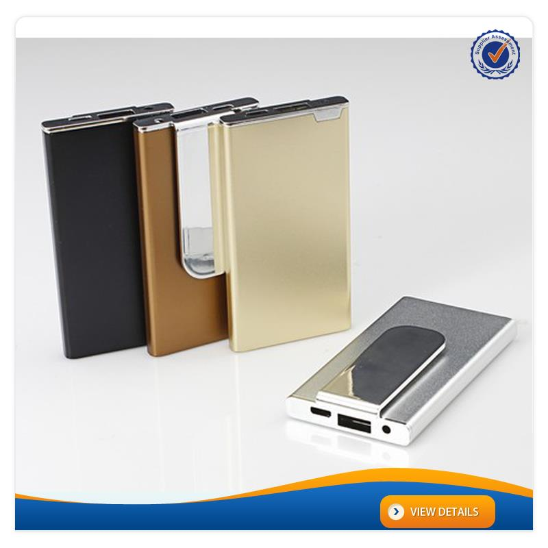 AWC306 2500mah Logo Printing portable metal back clip power bank usb battery 3000mah mobile phone slim model
