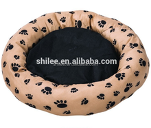 Classic Paw printed Pet round soft dog bed cushion