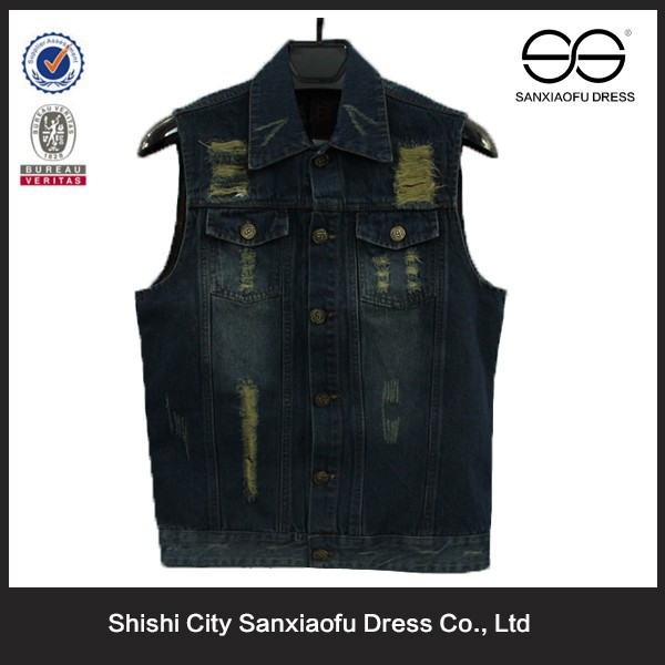 Manufacturer Custom Mens Cheap Denim Vest, Washed Sleeveless Biker Denim Vest Wholesale