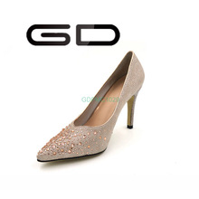Fashion pink Satin High Heels Rhinestone Crystal Pump Shoes with Rivets Fashion Silver Satin High Heels Rhinestone Crystal Pump