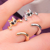 fashion design Male and female three colors alloy pugs retro rings cute cat animal ring explosion section