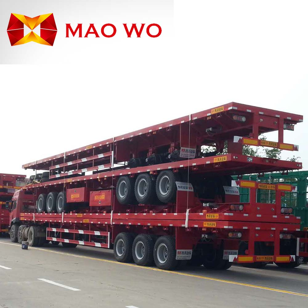 Maowo brand 40ft flatbed semi trailer with container lock for bulk good transport