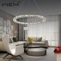 Contemporary Design Crystal Pendant Lighting Rounds LED Chandelier Crystal Hang Pendant Light Luster
