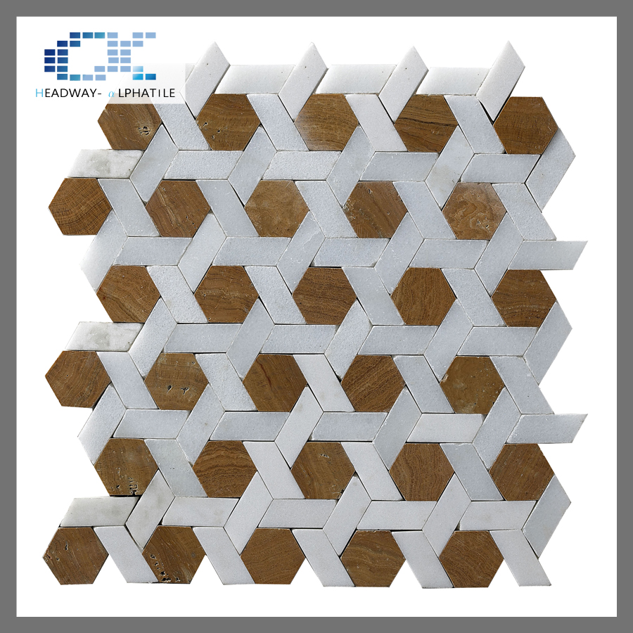 Interior wood pattern hexagon marble living room mosaic tile