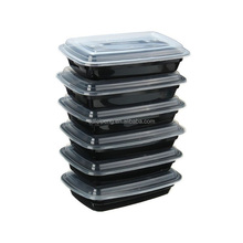White and black disposable meal prep microwave pp food container