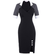 Belle Poque Retro Vintage Half Sleeve V-Neck Polka Dots Splicing Hips-Wrapped Office Dress Business Pencil Dress BP000128-1