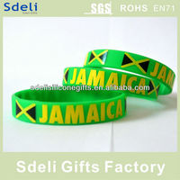 Cheap custom jamaica silk screen printed silicone wristbands / silicone rubber bracelet