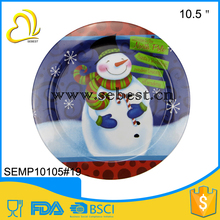 "low price 10.5"" christmas melamine round candied and fruit plastic plate"