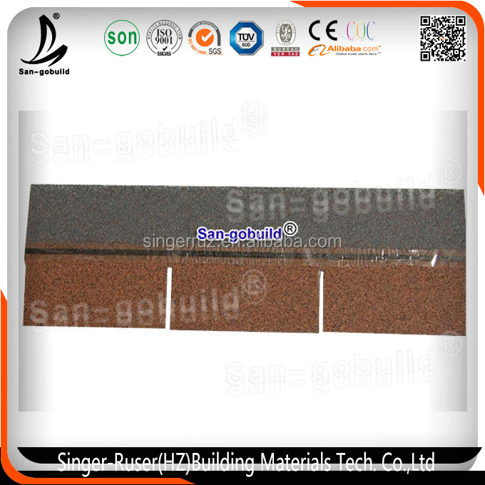 2016 Latest Design 3-tab Fiberglass Asphalt Shingle /Bitumen Roof Materials with Top Quality in China