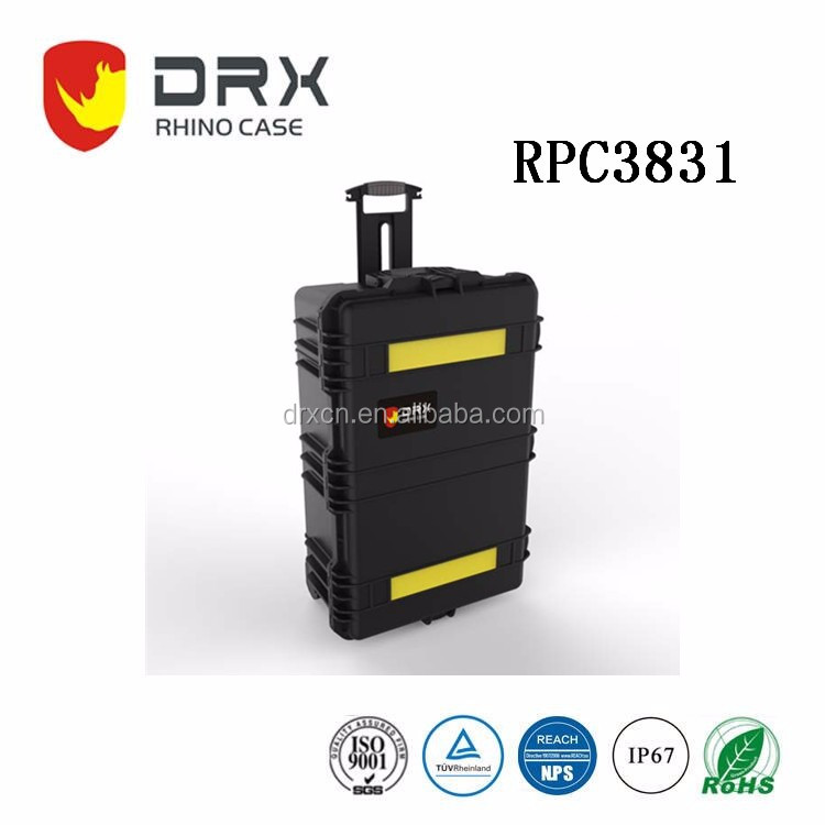 Black watertight hard rugged protective case with wheels and handle for Travel