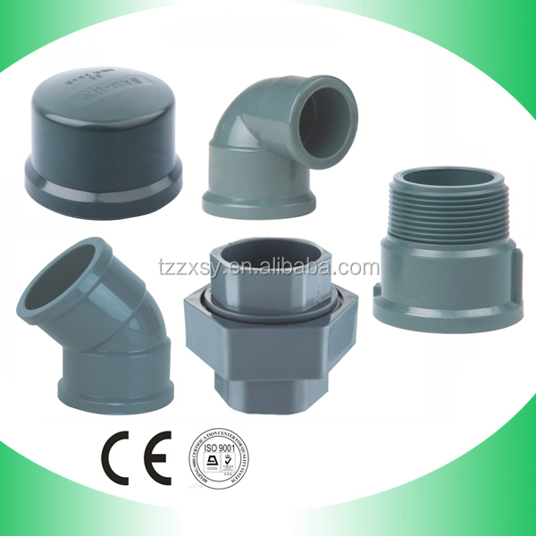 Nbr pvc grey fittings elbow coupling tee union