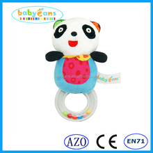 Hot sale 2015 popular baby rattles toys plush stuffed animal panda design baby products