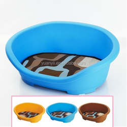 Heavy duty large dog bed plastic hard shell bed pet cat puppy basket
