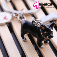 promotion polyresin 3D animal keychain/animal theme keyring/cool black fat dog with bone keychain