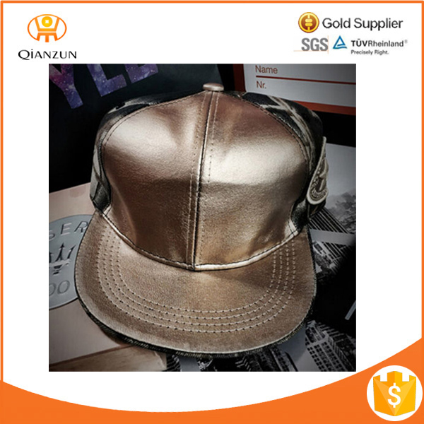 Hot Golden PU Leather Joint Adjustable Baseball Cap Hip Hop Hat For Men Girls