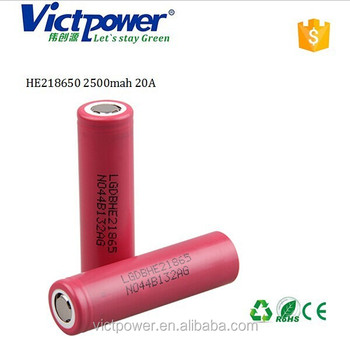 18650 ltihium battery HE2 18650 2500mah 20A battery cell for LG 18650 battery