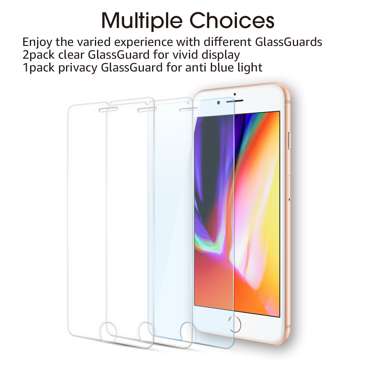 Tempered Glass Screen Protector For iPhone 8 Plus[3 Pack ][Combined Package]with accessories