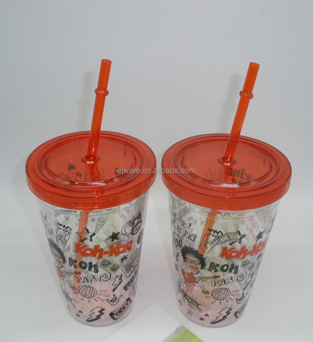 double wall acrylic tumbler with straw wholesale plastic tumbler cup