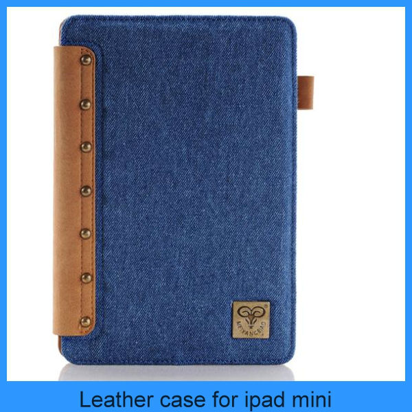 High quality Cowboy style Jeans leather case for ipad mini/air/5/4/3/2 (PT-IPM205)