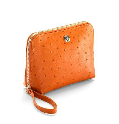 fashionable ostrich pu leather cosmetic bag