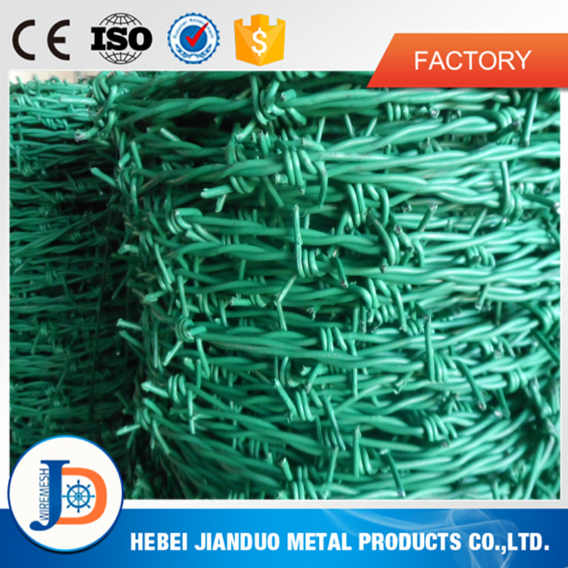 top quality green color pvc coated barbed wire with good after-sale service