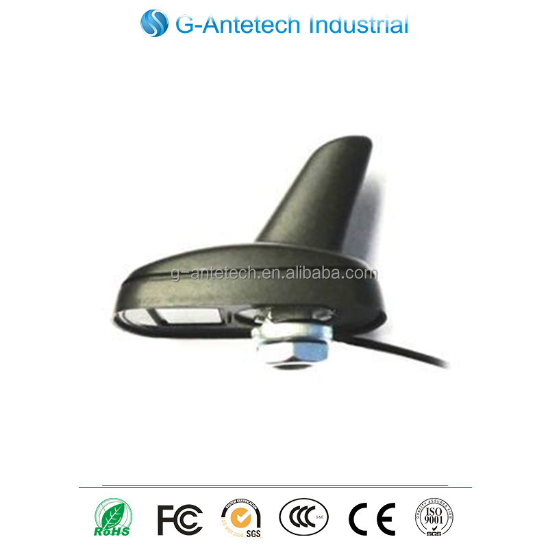 China manufacturer make shark fin Screw Mounting gps receiver external antenna with RG174 cable