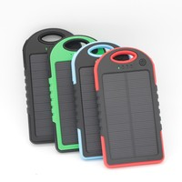 Traveling outdoor waterproof 5000mAh solar chargers for mobile phone, Ipad,GPS,bluetooth
