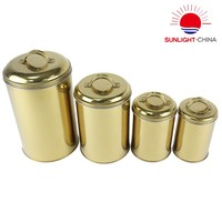 Round Container Set of 4 Metal Stainless Steel Durable Material For Storaging Food Snacks Tea Leaf Coffee Beans Keep Dry Fresh
